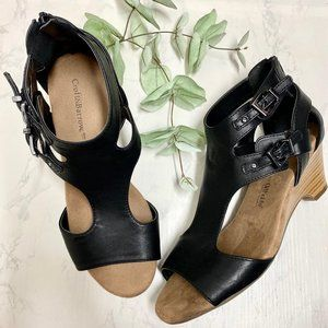 Croft Barrow Ortholite Pastel Black Wedge Sandals